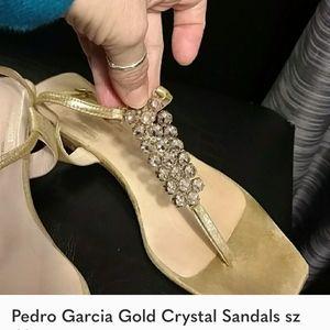 Pedro Garcia Gold Crystal Sandal Sz 10
